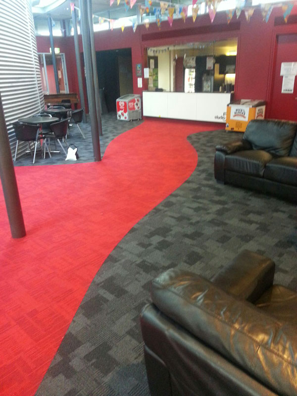 The Auckland Performing Arts Centre Inzide Carpet Tiles With A Free Hand Drawn Red Walkway
